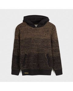 Mayoral Boys Sweater Khaki & Black Knit Hooded Cable Stitch Size 8-18 | Boys Sweater Vest 7318 Black