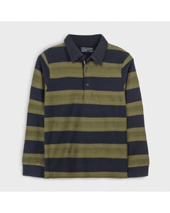 Mayoral Boys Polo Top Khaki & Navy Stripe Navy Collar Size 8-18 | Boys Designer Shirts 7125 Stripe