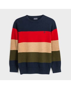 Mayoral Boys Sweater Navy Red Brown Khaki Navy Stripe Knit Size 8-18 | Toddler Boy Sweaters 7319 Stripe