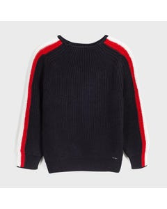 Mayoral Boys Pullover Navy White & Red Stripe Cable Stitch Size 8-18 | Kids Sweaters Boys 7320 Navy