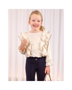 Abel & lula Girls Blouse Cream Lurex Popelin Flounce Front Trim Size 4-14 | Girls School Shirts 5607 Cream