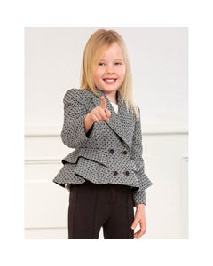 Abel & lula Girls Jacket Black & White Plaid Velvet Dots Flounce Trim Size 4-14 | Kids Coats 5822 Plaid