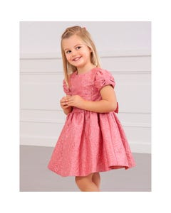 Abel & lula Girls Dress Blush Flower Jacquard Short Sleeve Size 4-10 | Girls Party Dresses 5545 Pink
