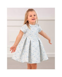 Abel & lula Girls Dress Light Blue Silver Flower Jacquard Short Sleeve Size 4-10 | Girls Dresses 5549 Blue