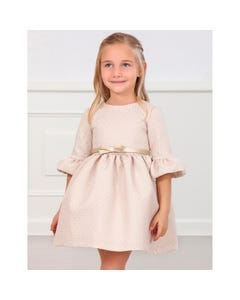 Abel & lula Girls Dress Rose & Gold Jacquard Print Gold Belt Size 4-10 | Girls Designer Dresses 5552 Pink