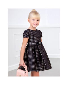 Abel & lula Girls Dress Navy & Rose Dot Jacquard Pleated Skirt Size 4-10 | Girls Designer Dresses 5567 Navy