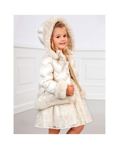 Abel & lula Girls Jacket Cream Fur Trim Hooded Quilted Size 4-12 | Kids Jackets 5829 Cream