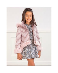 Abel & lula Girls Jacket Blush Fur Trim Hooded Quilted Size 4-12 | Kids Jackets 5829 Pink