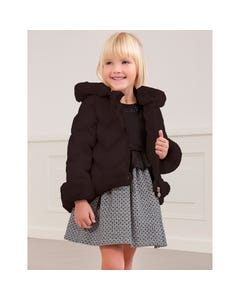 Abel & lula Girls Jacket Black Fur Trim Hooded Quilted Size 4-14 | Kids Coats 5829 Black