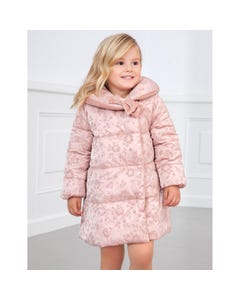 Abel & lula Girls Coat Rose Velvet Roses Print Reversible High Collar Bow Trim Size 4-12 | Toddler Coats 5830 Pink