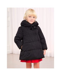 Abel & lula Girls Coat Black Print Reversible High Collar Bow Trim Size 4-14 | Kids Jackets 5830 Black