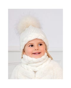 3 PC HAT SCARF & GLOVE CREAM FUR POM POM CABLESTITCH