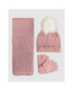 3 PC HAT SCARF & GLOVE ROSE LAME FUR POM POM