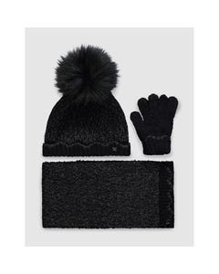 3 PC HAT SCARF & GLOVE BLACK SPARKLY POM POM