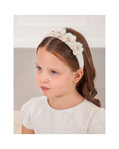 Abel & lula Girls Headband Cream Opaque Flowers Velvet Trim Size OS | Baby Girl Hair Accessories Online 5927 Cream