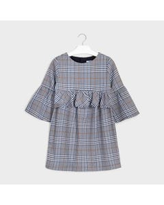 Mayoral Girls Dress Blue Check Bell Like Sleeve Size 8-18 | Kids Dress For Girls 7973 Blue