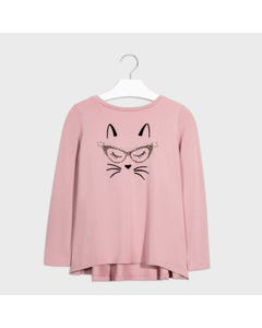 Mayoral Girls Tshirt Pink Cat Face Lace Back Trim Size 8-18 | Shirts For Girls 7072 Pink