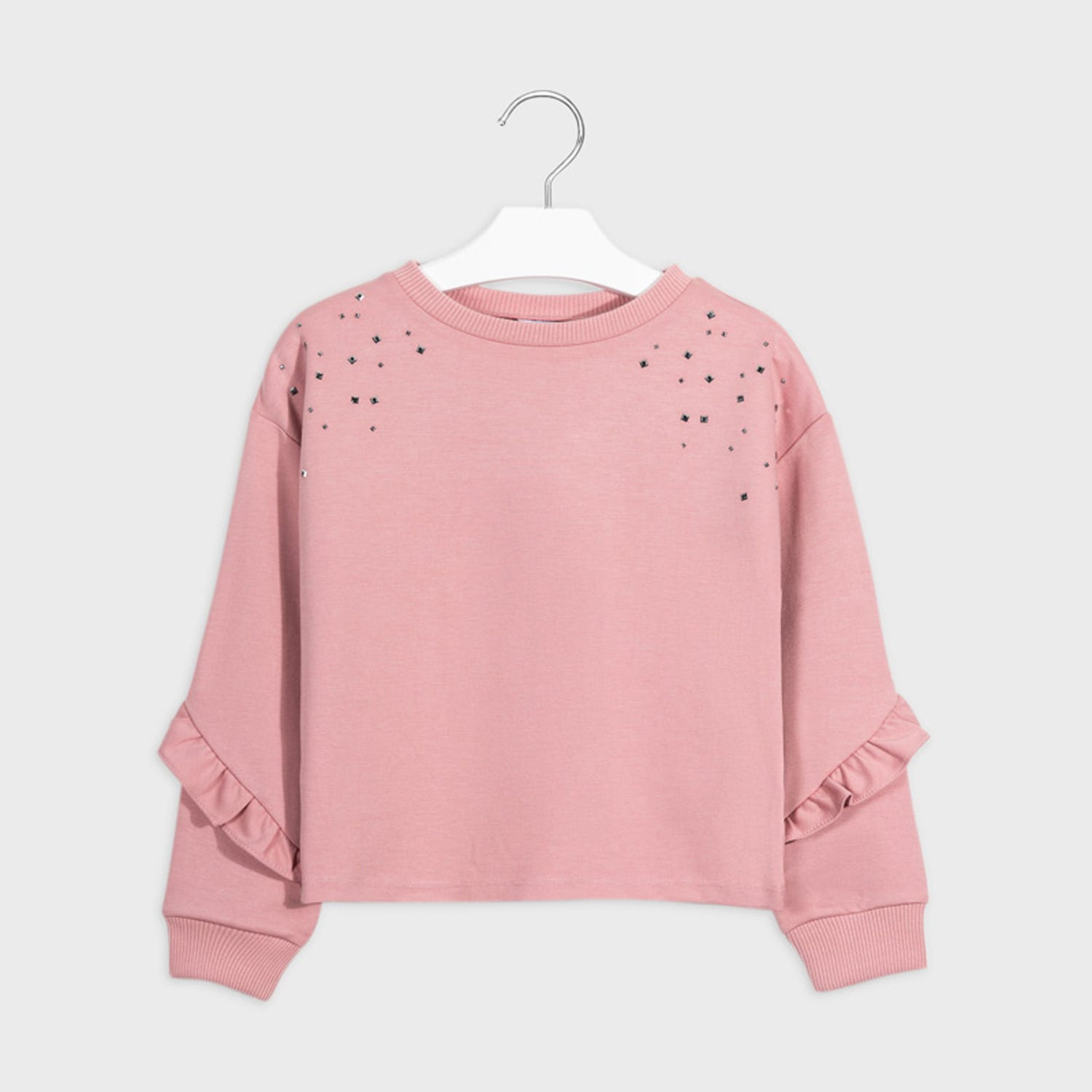 Mayoral Girls Pullover Blush Silver Studs Trim Size 8-18 ...