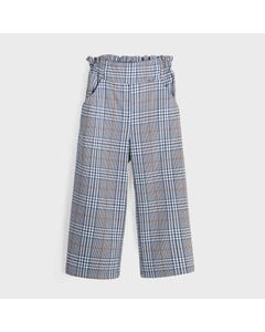Mayoral Girls Pant Blue Plaid Palazzo With Pockets Size 8-18 | Sports Shorts For Girls 7542 Blue