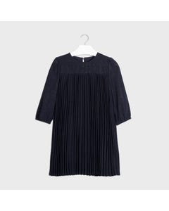 Mayoral Girls Dress Navy Pleated Shimmer Size 8-18 | Kids Dress For Girls 7962 Navy
