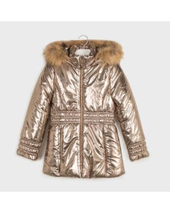 Mayoral Girls Coat Gold Removable Fur Collar Size 8-18 | Toddler Coats 7416 Gold