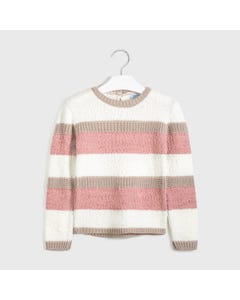 Mayoral Girls Sweater Cream Rose Tan Stripe Knitted Size 8-18 | Toddler Girl Sweaters 7327 Stripe