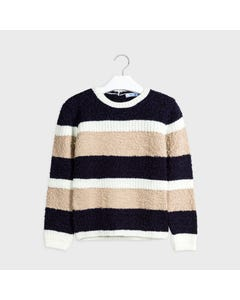 Mayoral Girls Sweater Navy Tan & White Stripe Knitted Size 8-18 | Sweater For Girl Online Shopping 7327 Stripe