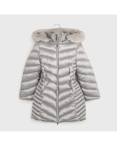 Mayoral Girls Coat Silver Removable Fur Collar Size 8-18 | Kids Jackets 7415 Grey