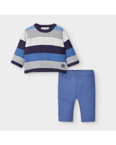 Mayoral Boys 2Pc Sweater & Pant Blue Stripe Size 0m-18m | Baby Co Ord Sets 2570 Blue