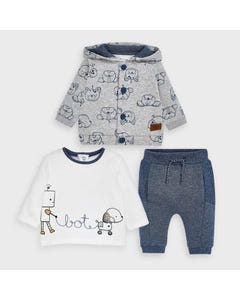Mayoral Boys 3 Pc Tracksuit Grey & Blue Hooded Face Print Size 0m-18m | Tracksuits For Toddlers 2653 Blue