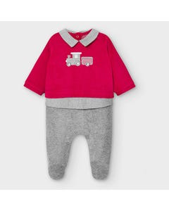 Mayoral Boys Sleeper Red & Grey Velour Check Collar Trim Train Embroidery Size 0m-18m | Baby Sleepers 2774 Red