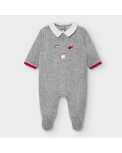 Mayoral Boys Sleeper Grey Velour Train Embroidered White Collar Size 0m-18m | Baby Sleeper Gowns 2774 Grey