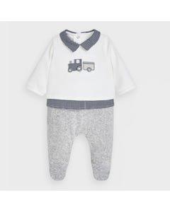 Mayoral Boys Sleeper White & Grey Velour Blue Collar & Trim Train Embroidery Size 0m-18m | Baby Sleeper Gowns 2774 White