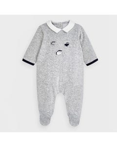Mayoral Boys Sleeper Grey Velour Navy Trim & Train Embroidery White Collar Size 0m-18m | Toddler Sleepers 2774 Grey