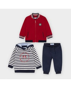 Mayoral Boys 3 Pc Tracksuit Burgundy & Navy Stripe Hooded Top Size 6m-36m   Tracksuits For Toddlers 2888 Burgundy