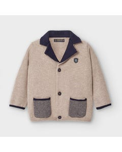 Mayoral Boys Jacket Brown Knit Navy Collar & Pockets Dressy Size 6m-36m | Baby Coats 2476 Brown
