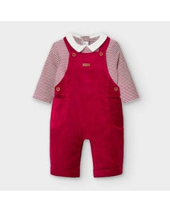 Mayoral Boys 2 Pc Overall Set Maroon Cord & Striped Tshirt Long Sleeve Size 0m-18m | Baby Two Piece Dresses 2638 Red