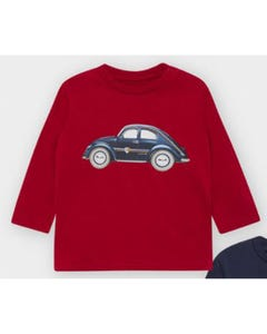 Mayoral Boys Tshirt Bordeaux Blue Car Print Size 6m-36m | Toddler T Shirts 2476 Red