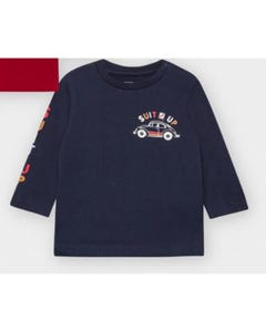Mayoral Boys Tshirt Navy Suit Up & Car Print Size 6m-36m | Toddler T Shirts 2476 Navy