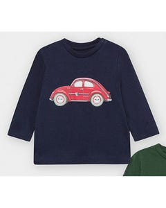 Mayoral Boys Tshirt Navy Red Car Print Size 6m-36m | Baby Shirts 2476 Navy