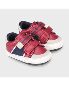 Mayoral Boys Shoe Red 2 Velcro Straps Closure Navy & Beige Trim Size 15-19 | Toddler Shoes 9333 Red