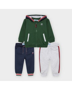 Mayoral Boys 3 Pc Tracksuit Green Navy & Grey Hooded 2 Pants Size 6m-36m | Toddler Tracksuits 918 Green