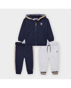 Mayoral Boys 3 Pc Tracksuit Navy & Grey Hooded 2 Pants Size 6m-36m | Kids Tracksuits 918 Navy