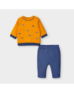 Mayoral Boys 2 Pc Sweater & Pant Gold & Blue Car Embroidery Size 0m-18m | Infant Sweaters 2569 Gold