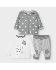 Mayoral Boys 3 Pc Tracksuit Grey Star Print & Stripes Hooded Size 0m-18m | Baby Tracksuits 2642 Grey