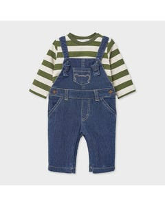 Mayoral Boys 2 Pc Overall & Tshirt Denim & Green Stripe Tshirt Size 0m-18m | Baby Two Piece Dresses 2648 Denim