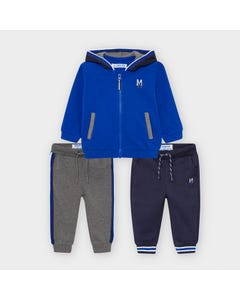 Mayoral Boys 3Pc Tracksuit Blue & Grey Hooded 2 Pants Size 6m-36m | Kids Tracksuits 918 Blue