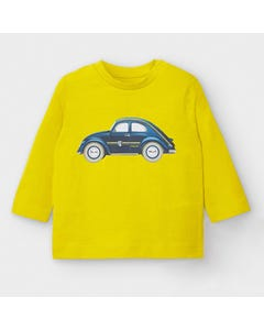 Mayoral Boys Tshirt Yellow Blue Car Print Size 6m-36m | Toddler Shirts 2037 Yellow
