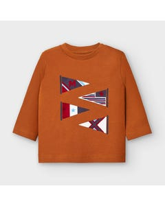 Mayoral Boys Tshirt Brown With Flags Size 6m-36m | Infant Shirts 2039 Brown