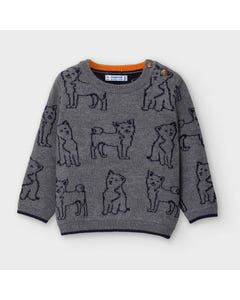 Mayoral Boys Sweater Grey Navy Dog Print Jacquard Size 6m-36m | Sweaters For Babies 2350 Grey